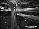 Aerial of Carillon Bell Tower in black and white at dusk