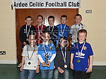Players from The Ardee Celtic Under 8 Blue with their medals at the Ardee Celtic annual awards night in Ardee parish centre. Photo:Colin Bell/pressphotos.ie