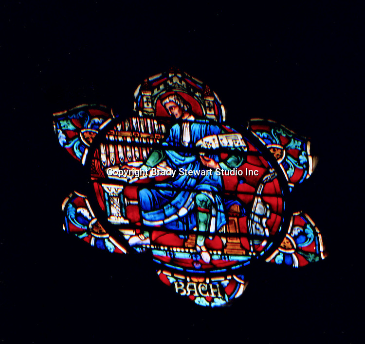 East Liberty section of Pittsburgh PA:  East Liberty Presbyterian Church; Johann Sabastian Bach window in the West Transept - 1977. This image is included in the book; The Art and Architecture of the East Liberty Presbyterian Church.  This image is part of four windows that honor the role of music in the worship of God.