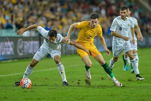 29.03.2016. Allianz Stadium, Sydney, Australia. Football 2018 World Cup Qualification match Australia versus Jordan. Jordan midfielder Raja'i Ayed takes on Australian forward Mathew Leckie.  Australia won 5-1.