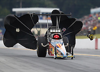 Oct 1, 2016; Mohnton, PA, USA; NHRA top alcohol dragster driver XXXX during qualifying for the Dodge Nationals at Maple Grove Raceway. Mandatory Credit: Mark J. Rebilas-USA TODAY Sports
