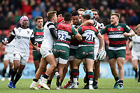 Tempers flare between the two sides. Gallagher Premiership match, between Leicester Tigers and Bristol Bears on April 27, 2019 at Welford Road in Leicester, England. Photo by: Patrick Khachfe / JMP