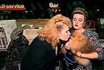 Pet dog owner kissing her dog  child substitute Crufts Dog Show 1990s UK 1991<br />