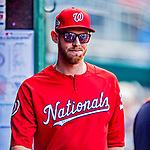 26 September 2018: Washington Nationals pitcher Stephen Strasburg wears sunglasses in dugout prior to a game against the Miami Marlins at Nationals Park in Washington, DC. The Nationals defeated the visiting Marlins 9-3, closing out Washington's 2018 home season. Mandatory Credit: Ed Wolfstein Photo *** RAW (NEF) Image File Available ***