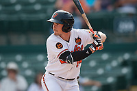 Baltimore Orioles first baseman Preston Palmeiro (84) at bat during a Grapefruit League Spring Training game against the Tampa Bay Rays on March 1, 2019 at Ed Smith Stadium in Sarasota, Florida.  Rays defeated the Orioles 10-5.  (Mike Janes/Four Seam Images)