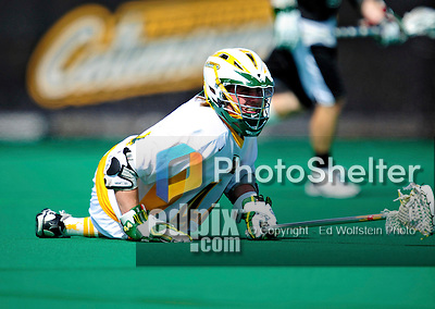 3 April 2010: University of Vermont Catamounts' Defenseman Chris Maubach, a Senior from Mahtomedi, MN, in action against the Binghamton University Bearcats at Moulton Winder Field in Burlington, Vermont. The Catamounts defeated the visiting Bearcats 11-8 in Vermont's opening home game of the 2010 season. Mandatory Credit: Ed Wolfstein Photo