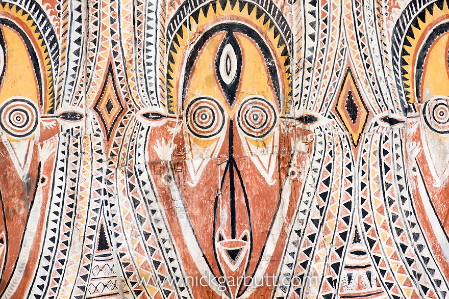 Traditional painting on a Spirit House or Haus Tambaran. Apangi Village, East Sepik Province, Papua New Guinea. June