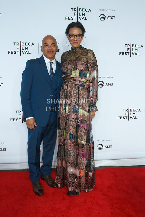 """Rickey Minor and Rachel Collins arrive at the Clive Davis: """"The Soundtrack Of Our Lives"""" world premiere for the Opening Night of the 2017 TriBeCa Film Festival on April 19, 2017 at Radio City Music Hall."""