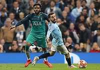 Tottenham Hotspur's Danny Rose threads a pass despite the attentions of Manchester City's Bernardo Silva<br /> <br /> Photographer Rich Linley/CameraSport<br /> <br /> UEFA Champions League - Quarter-finals 2nd Leg - Manchester City v Tottenham Hotspur - Wednesday April 17th 2019 - The Etihad - Manchester<br />  <br /> World Copyright © 2018 CameraSport. All rights reserved. 43 Linden Ave. Countesthorpe. Leicester. England. LE8 5PG - Tel: +44 (0) 116 277 4147 - admin@camerasport.com - www.camerasport.com
