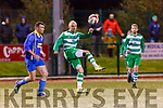 James Sugrue Killarney Celtic gets his pass away despite the pressure from Kieran Geary  Bridgeview United during their Munster Champions Cup clash in Celtic Park on Saturday night