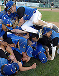Worcester Ma 061414) Leominster 7,  Tyler Vaillette, joins his team in  celebration after winning the state championship over Norwood, Saturday at Holy Cross College in Worcester. (Jim Michaud Photo)