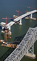 aerial photograph of San Francisco Oakland Bay Bridge construction