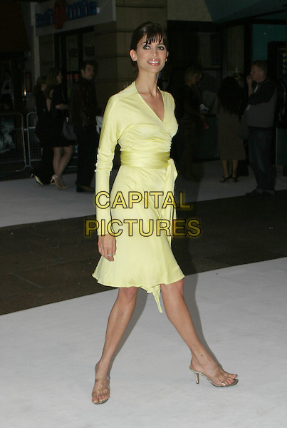 "LISA B.Premiere of ""The Day After Tomorrow"", London,.26th May 2004..full length full-length yellow wraparound dress fringe.www.capitalpictures.com.sales@capitalpictures.com.©Capital Pictures"