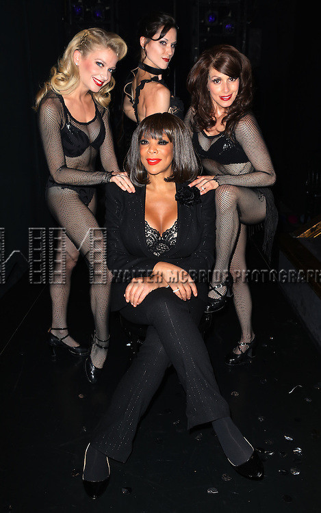 "Wendy Williams (Bottom)  with (L-R) Anne Horak, Cristy Candler, Donna Marie Asbury backstage after Wendy Williams makes her Broadway stage debut as Matron ""Mama"" Morton in CHICAGO at the Ambassador Theatre on July 1, 2013 in New York City."