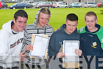 SUCCESS: The pressure is off for Brian Healy, Kilcummin, Ed ONeill, Killarney, Eoghan Howard, Kilcummin, and Derek Twomey, Killarney, as they celebrate their success in the Leaving Cert results at St Brendans College, Killarney, on Wednesday..