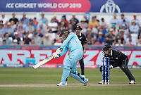 Jason Roy (England) goes aerial over extra cover for four runs during England vs New Zealand, ICC World Cup Cricket at The Riverside Ground on 3rd July 2019