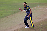 Ruaidhri Smith of Glamorgan celebrates taking the wicket of Adam Wheater during Glamorgan vs Essex Eagles, Vitality Blast T20 Cricket at the Sophia Gardens Cardiff on 7th August 2018