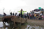 Andy Boddington of CPRE addresses 250+ people who attended a demo at Radley Lake.  N power are currently cutting down trees at the much loved wldife site, home to Otters and Kingfishers to fill the lake with waste fly ash from Didcot power station.
