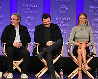 "HOLLYWOOD, CA - MARCH 17: Brannon Braga, Seth MacFarlane and Adrianne Palicki  at the PaleyFest 2018 - ""The Orville"" panel at the Dolby Theatre on March 17, 2018 in Hollywood, California. (Photo by Scott Kirkland/Fox/PictureGroup)"