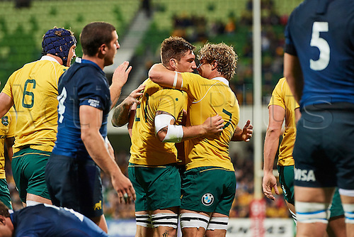 17.09.2016. Perth, Australia.  Sean McMahon of the Qantas Wallabies and Michael Hooper of the Qantas Wallabies celebrate a try during the Rugby Championship test match between the Australian Qantas Wallabies and Argentina's Los Pumas from NIB Stadium - Saturday 17th September 2016 in Perth, Australia.