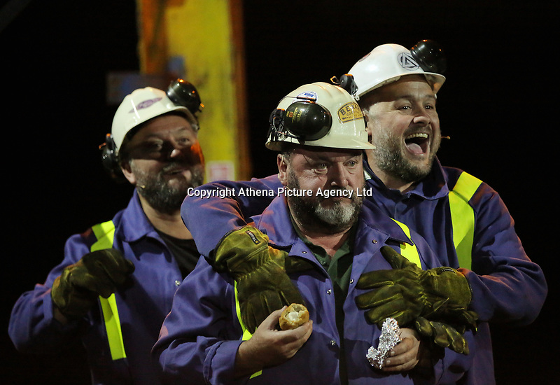 """Pictured:<br />Re: Dress rehearsal of """"We'Re Still Here"""", a play created by Rachel Trezise, Common Wealth and the National Theatre Wales about steelworkers, which will be performed in Byass Works, a disused industrial unit, in Port Talbot, south Wales, UK."""