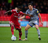 Lincoln City's Tom Hopper vies for possession with Accrington Stanley's Sadou Diallo<br /> <br /> Photographer Andrew Vaughan/CameraSport<br /> <br /> The EFL Sky Bet League One - Accrington Stanley v Lincoln City - Saturday 15th February 2020 - Crown Ground - Accrington<br /> <br /> World Copyright © 2020 CameraSport. All rights reserved. 43 Linden Ave. Countesthorpe. Leicester. England. LE8 5PG - Tel: +44 (0) 116 277 4147 - admin@camerasport.com - www.camerasport.com
