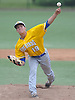 Chris Cappas #19, Kellenberg pitcher, delivers to the plate in the bottom of the third inning of the CHSAA varsity baseball semifinals against St. Dominic at Farmingdale State College on Tuesday, May 24, 2016. He pitched a complete game in Kellenberg's 5-3 win.