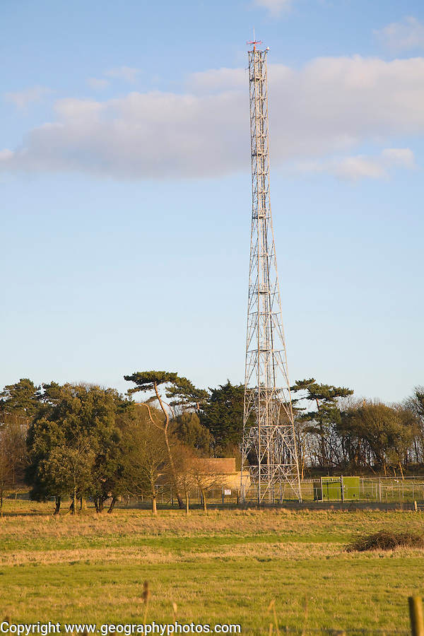 Tall radio Coastguard transmitter mast at Bawdsey, Suffolk, England