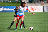 Kansas City, MO - Saturday September 9, 2017: Yael Averbuch, Christen Press during a regular season National Women's Soccer League (NWSL) match between FC Kansas City and the Chicago Red Stars at Children's Mercy Victory Field.