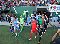 Portland, OR - Saturday August 19, 2017: Christine Sinclair, Amber Brooks walk onto the pitch during a regular season National Women's Soccer League (NWSL) match between the Portland Thorns FC and the Houston Dash at Providence Park.