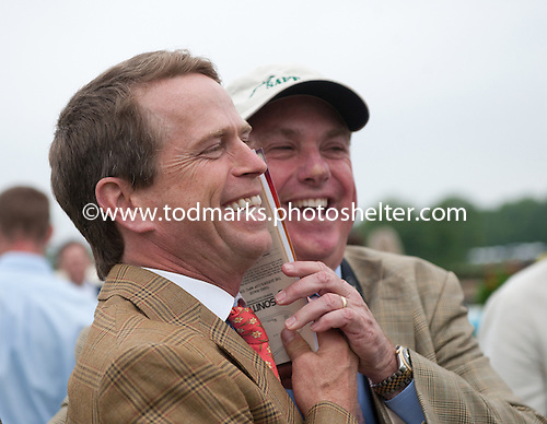 Trainer Arch Kingsley and owner Bill Price after Baltic Shore wins the Queens Cup.
