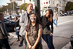 (L-R) Ted Grubb, 30, Soraya Darabi, 27, and Alexa Andrzejewski, 27, at the corner of 18th and Valenice streets, outside Tartine Bakery in the Mission District, in San Francisco, Ca., on Wednesday, May 25, 2011. They are three entreprenuers who developed the iPhone app, Foodspotting.