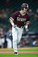 Rowdey Jordan (4) of the Mississippi State Bulldogs hustles down the first base line against the Louisiana Ragin' Cajuns in game three of the 2018 Shriners Hospitals for Children College Classic at Minute Maid Park on March 2, 2018 in Houston, Texas.  The Bulldogs defeated the Ragin' Cajuns 3-1.   (Brian Westerholt/Four Seam Images)
