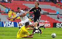 .Action photo of Nico Perrrey (R) of Germany and Kendall Mcintosh (L) of USA, during game of the FIFA Under 17 World Cup game, held at Queretaro.