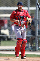 March 18, 2010:  Catcher Luis Exposito of the Boston Red Sox organization during Spring Training at Ft.  Myers Training Complex in Fort Myers, FL.  Photo By Mike Janes/Four Seam Images