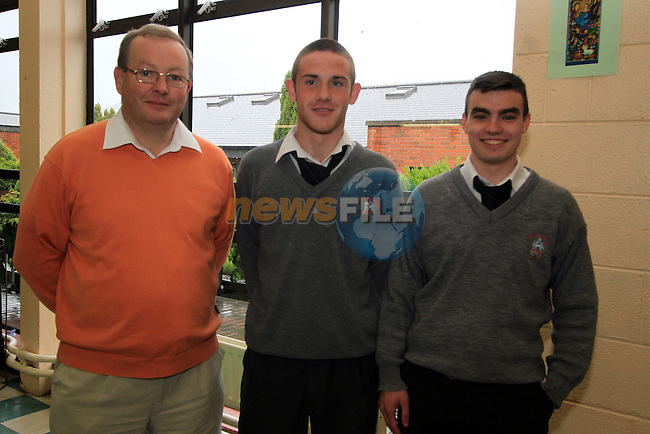 Deputy Principal, John Mansfield with leaving cert students Sean McGrath and Jake McCabe at St. Josephs Secondary School...(Photo credit should read Jenny Matthews www.newsfile.ie)....This Picture has been sent you under the conditions enclosed by:.Newsfile Ltd..The Studio,.Millmount Abbey,.Drogheda,.Co Meath..Ireland..Tel: +353(0)41-9871240.Fax: +353(0)41-9871260.GSM: +353(0)86-2500958.email: pictures@newsfile.ie.www.newsfile.ie.