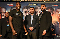 Lawrence Okolie (L), Eddie Hearn and Wadi Camacho during a Press Conference at the Grange City Hotel on 6th February 2019