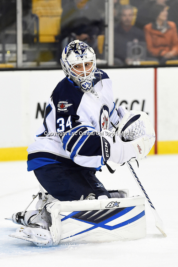 Thursday, October 8, 2015: Winnipeg Jets goalie Michael Hutchinson (34) warms up before the NHL game between the Winnipeg Jets and the Boston Bruins held at TD Garden, in Boston, Massachusetts. Winnipeg defeated Boston 6-2 in regulation time. Eric Canha/CSM