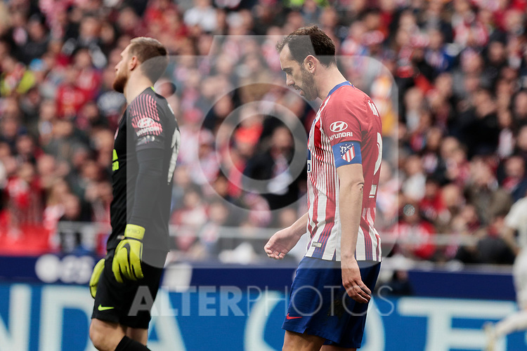 Atletico de Madrid's Diego Godin during La Liga match between Atletico de Madrid and Real Madrid at Wanda Metropolitano Stadium in Madrid, Spain. February 09, 2019. (ALTERPHOTOS/A. Perez Meca)