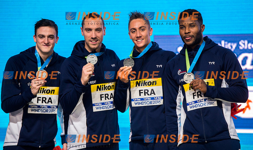 France FRA Silver Medal<br /> Men's 4x100m Freestyle <br /> MIGNON Clement STRAVIUS Jeremy  POTHAIN Jordan METELLA Mehdy <br /> 13th Fina World Swimming Championships 25m <br /> Windsor  Dec. 6th, 2016 - Day01 Finals<br /> WFCU Centre - Windsor Ontario Canada CAN <br /> 20161206 WFCU Centre - Windsor Ontario Canada CAN <br /> Photo &copy; Giorgio Scala/Deepbluemedia/Insidefoto