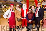 Oliver Falvey, Eileen Long, Santa Claus, Sean Walsh, Christina Long and Jim Garvey (Garvey Supervalu) at the Garveys Supervalu Castleisland's Food Fair on Tuesday.
