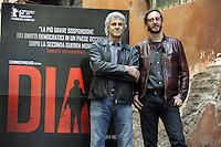 """Roma, 6 Aprile 2012.Photocall del film """"Diaz"""" .Il regista Daniele Vicari e il produttore Domenico Procacci"""