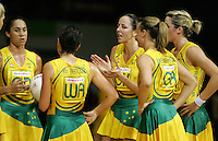 16.11.2007 Australia during the Australia v England match at the New World Netball World Champs held at Trusts Stadium Auckland New Zealand. Mandatory Photo Credit ©Michael Bradley.