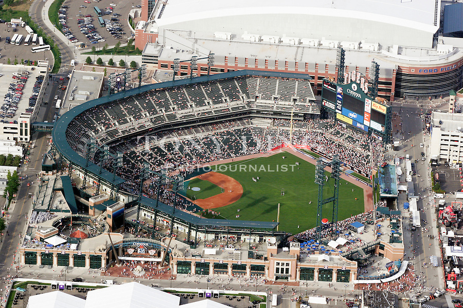 "Aerial photograph of the home of the Detroit Tigers baseball team, Comerica Park, in downtown Detroit, Mich., taken from on board the Akron, Ohio based ""Spirit of Goodyear"" airship on Monday, July 11, 2005 as it headed out to the start of the 2005 Major League Baseball All-Stars Homerun Derby at Comerica Park (Photo by Tony Ding)"