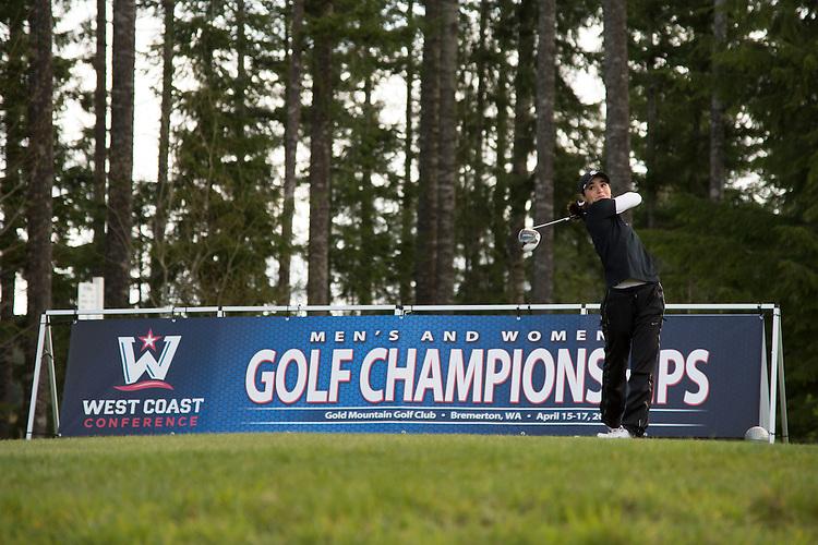 April 15, 2013; Bremerton, WA, USA; Santa Clara Broncos golfer Taylor Camany during the WCC Golf Championships at Gold Mountain Golf Club.