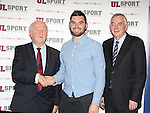 27/10/2015   With Compliments.  Attending the GAA High Performance Scholarships 2015-2016 in the Castletroy Park Hotel were Robert Frost, GAA, Munster Council Chairman who presented the Munster GAA Bursary to recipient Bryan O'Shea, Dr Crokes, Kerry. Also in the photograph is UL President Professor Don Barry.  Photograph: Liam Burke/Press 22