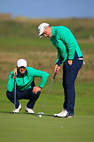 Robbie Cannon and James Sugrue from Ireland on the 11th green during Round 1 Foursomes of the Men's Home Internationals 2018 at Conwy Golf Club, Conwy, Wales on Wednesday 12th September 2018.<br /> Picture: Thos Caffrey / Golffile<br /> <br /> All photo usage must carry mandatory copyright credit (© Golffile | Thos Caffrey)