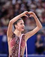 September 14, 2018 - Sofia, Bulgaria - MELINA BALDASSARRI of Italy shows heart to fans after hoop routine during EF at 2018 World Championships.