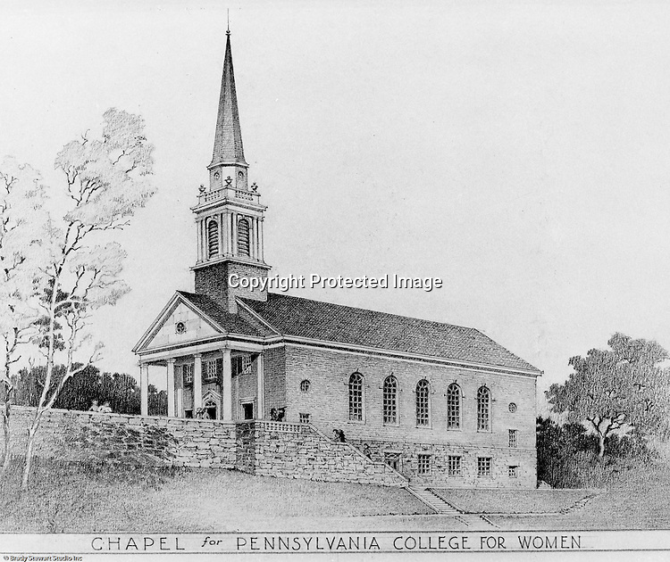 Pittsburgh PA:  View of an Ingham, Boyd and Pratt Architect's rendering of the Chapel for Pennsylvania College for Women - 1948.  Pennsylvania College for Women changed it's name in 1955 to Chatham College.