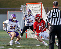 UAlbany Men's Lacrosse defeats Stony Brook on March 31 at Casey Stadium.  Mike McCannell (#92) defended by Matt Perla (#34).